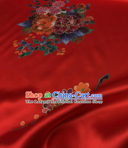 Asian Chinese Classical Orchid Peony Pattern Red Brocade Satin Drapery Traditional Cheongsam Brocade Silk Fabric
