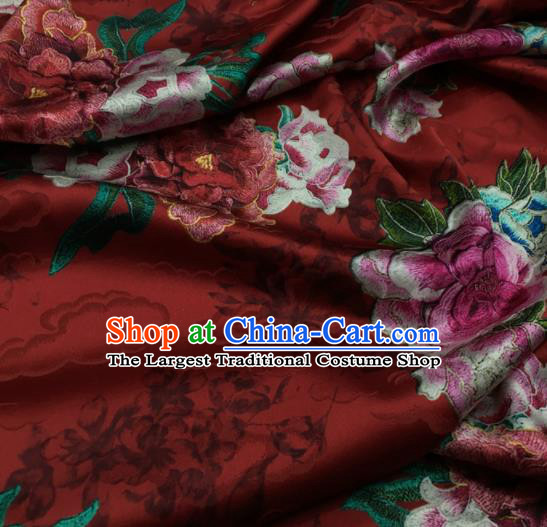 Asian Chinese Classical Peony Flowers Pattern Purplish Red Brocade Satin Drapery Traditional Cheongsam Brocade Silk Fabric