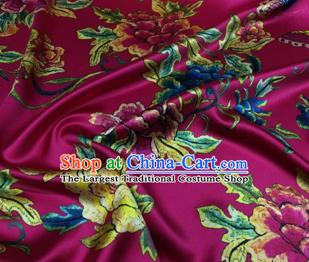 Asian Chinese Classical Peony Flowers Pattern Rosy Brocade Satin Drapery Traditional Cheongsam Brocade Silk Fabric