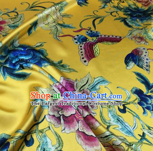 Asian Chinese Classical Peony Flowers Pattern Yellow Brocade Satin Drapery Traditional Cheongsam Brocade Silk Fabric