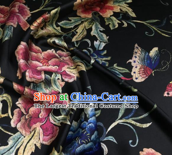 Asian Chinese Classical Peony Flowers Pattern Black Brocade Satin Drapery Traditional Cheongsam Brocade Silk Fabric