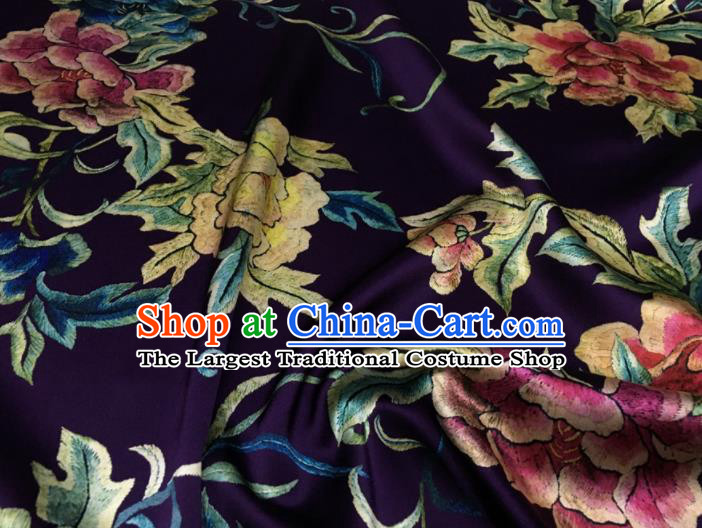 Asian Chinese Classical Peony Flowers Pattern Purple Brocade Satin Drapery Traditional Cheongsam Brocade Silk Fabric