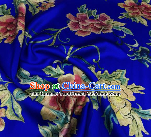 Asian Chinese Classical Peony Flowers Pattern Royalblue Brocade Satin Drapery Traditional Cheongsam Brocade Silk Fabric