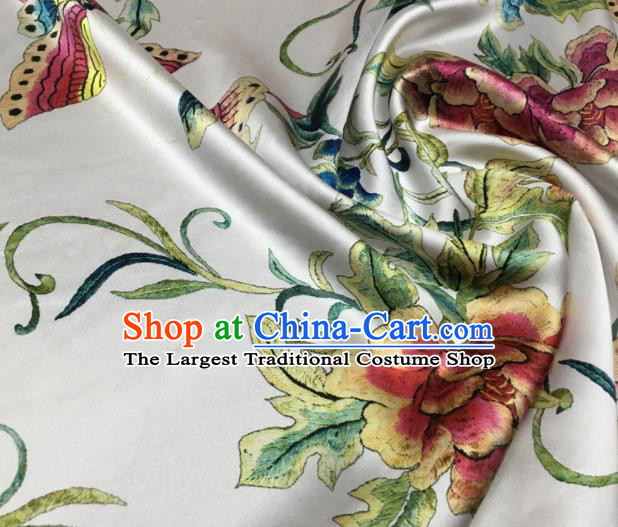 Asian Chinese Classical Peony Flowers Pattern White Brocade Satin Drapery Traditional Cheongsam Brocade Silk Fabric