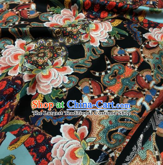 Asian Chinese Classical Lotus Pattern Black Brocade Satin Drapery Traditional Cheongsam Brocade Silk Fabric