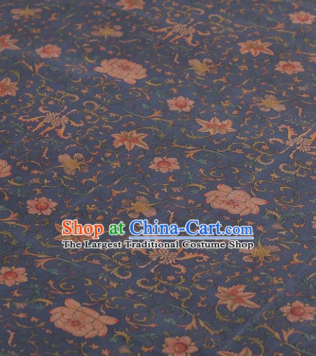 Asian Chinese Classical Lotus Pattern Navy Gambiered Guangdong Gauze Traditional Cheongsam Brocade Silk Fabric