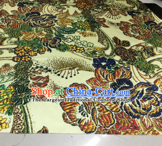 Asian Chinese Classical Peony Pattern Yellow Brocade Satin Drapery Traditional Cheongsam Brocade Silk Fabric