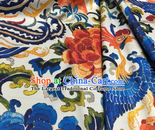 Asian Chinese Classical Phoenix Peony Pattern White Brocade Satin Drapery Traditional Cheongsam Brocade Silk Fabric