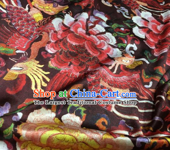 Asian Chinese Classical Phoenix Peony Pattern Dark Red Brocade Satin Drapery Traditional Cheongsam Brocade Silk Fabric