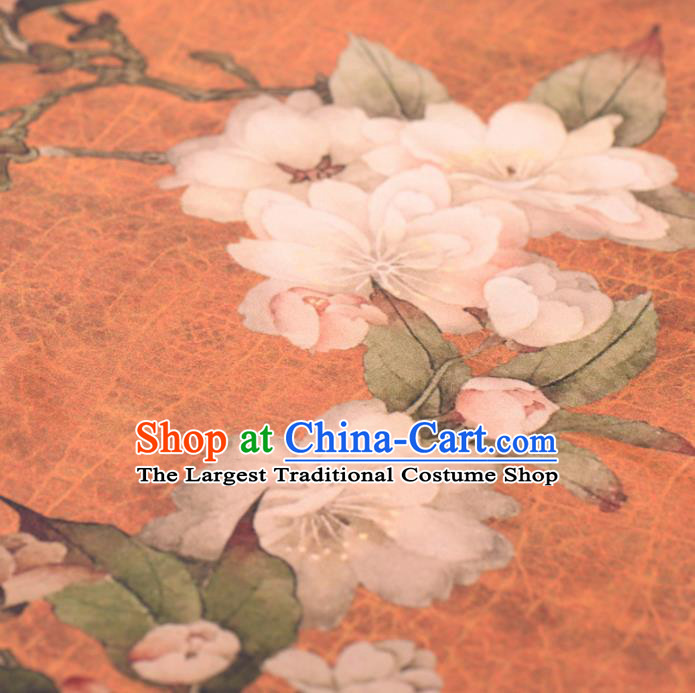 Asian Chinese Classical Pear Flowers Pattern Orange Gambiered Guangdong Gauze Traditional Cheongsam Brocade Silk Fabric