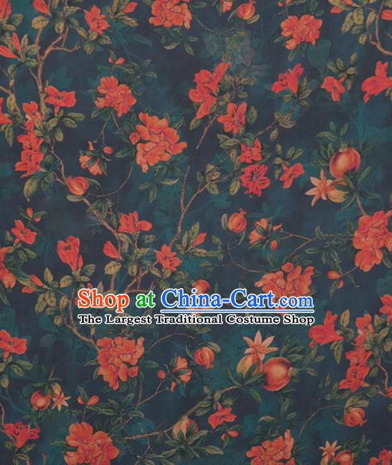 Asian Chinese Classical Pomegranate Flowers Pattern Navy Brocade Satin Drapery Traditional Cheongsam Brocade Silk Fabric