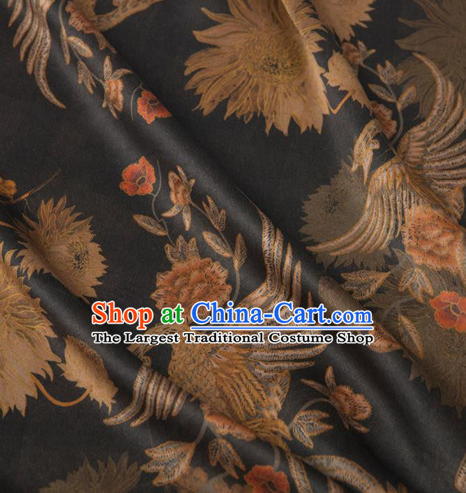 Asian Chinese Classical Phoenix Peony Pattern Black Brocade Satin Drapery Traditional Cheongsam Brocade Silk Fabric