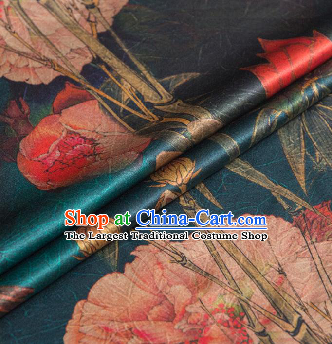 Asian Chinese Classical Peony Pattern Deep Green Brocade Satin Drapery Traditional Cheongsam Brocade Silk Fabric