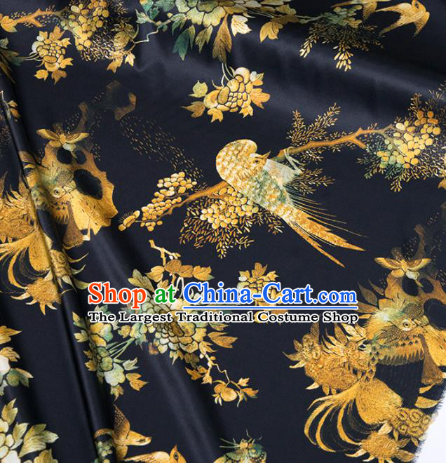 Asian Chinese Classical Peacock Peony Pattern Black Brocade Satin Drapery Traditional Cheongsam Brocade Silk Fabric