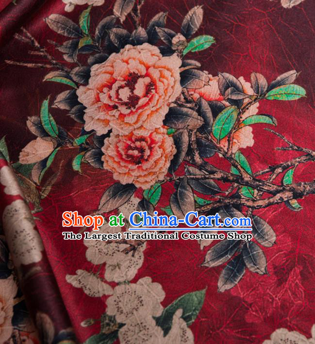 Asian Chinese Classical Plum Peony Pattern Wine Red Brocade Satin Drapery Traditional Cheongsam Brocade Silk Fabric