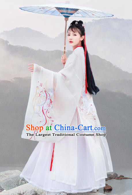 Chinese Ancient Han Dynasty Imperial Concubine Embroidered Historical Costume Antique Traditional Court Hanfu Dress for Women