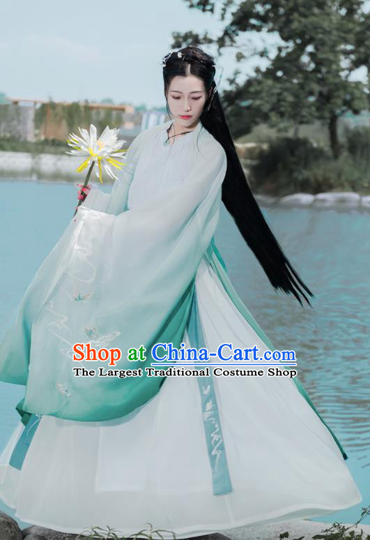Chinese Ancient Court Princess Embroidered Hanfu Dress Antique Traditional Jin Dynasty Historical Costume for Women