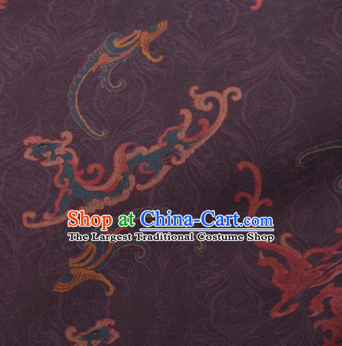 Asian Chinese Classical Kui Dragon Pattern Purple Brocade Satin Drapery Traditional Cheongsam Brocade Silk Fabric