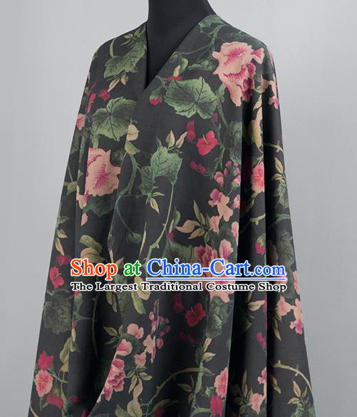 Asian Chinese Classical Flowers Pattern Black Brocade Satin Drapery Traditional Cheongsam Brocade Silk Fabric