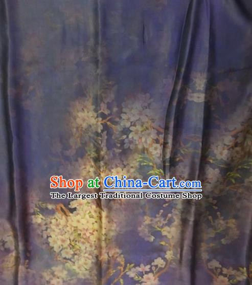 Asian Chinese Classical Pear Flowers Pattern Purple Satin Drapery Gambiered Guangdong Gauze Brocade Traditional Cheongsam Brocade Silk Fabric