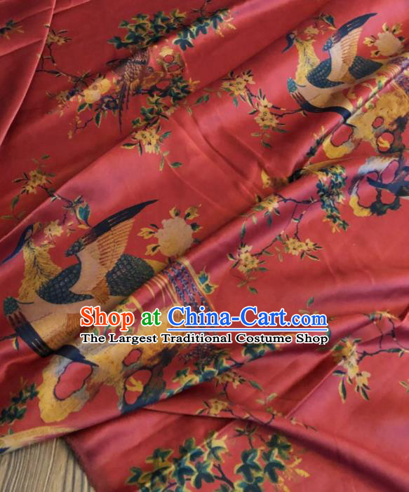 Asian Chinese Classical Phoenix Pattern Red Satin Drapery Gambiered Guangdong Gauze Brocade Traditional Cheongsam Brocade Silk Fabric