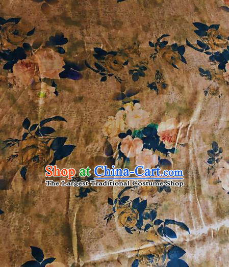 Asian Chinese Classical Roses Pattern Khaki Satin Drapery Gambiered Guangdong Gauze Brocade Traditional Cheongsam Brocade Silk Fabric