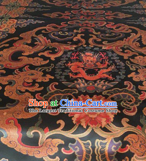 Asian Chinese Classical Cloud Dragon Pattern Black Satin Drapery Gambiered Guangdong Gauze Brocade Traditional Cheongsam Brocade Silk Fabric