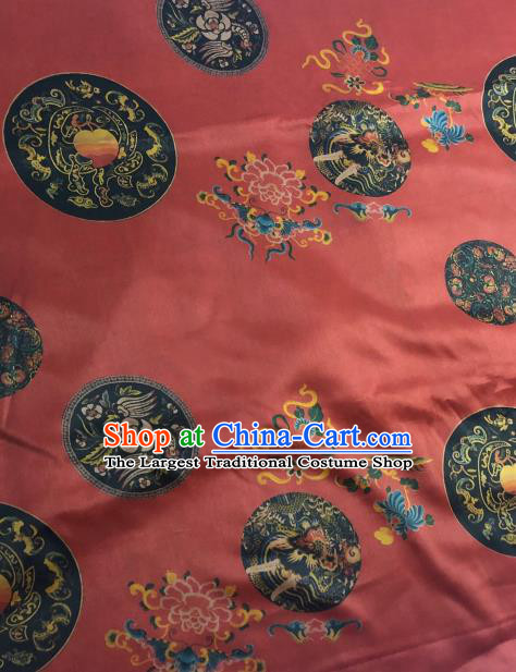 Asian Chinese Classical Dragon Peony Pattern Red Satin Drapery Gambiered Guangdong Gauze Brocade Traditional Cheongsam Brocade Silk Fabric