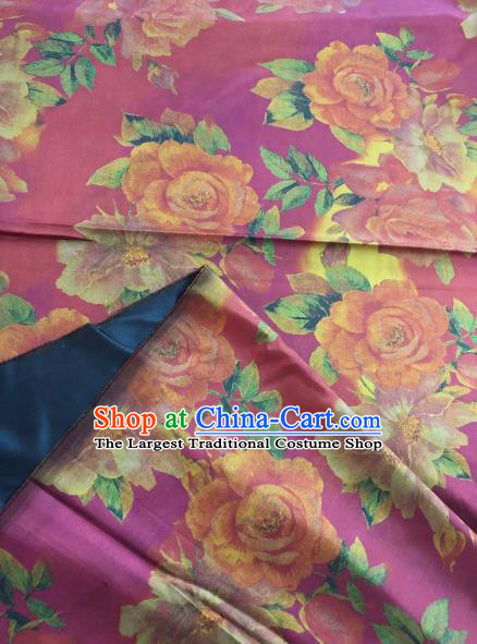 Asian Chinese Classical Roses Pattern Purple Satin Drapery Gambiered Guangdong Gauze Brocade Traditional Cheongsam Brocade Silk Fabric