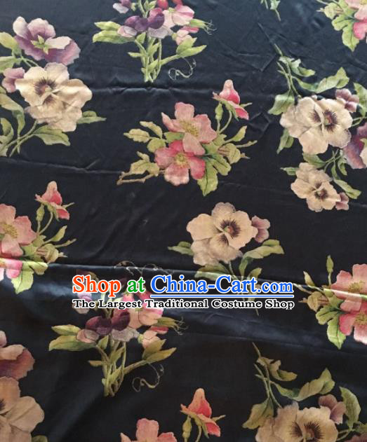 Asian Chinese Classical Flowers Pattern Black Satin Drapery Gambiered Guangdong Gauze Brocade Traditional Cheongsam Brocade Silk Fabric