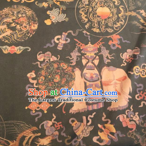 Asian Chinese Classical Elephant Pattern Black Satin Drapery Gambiered Guangdong Gauze Brocade Traditional Cheongsam Brocade Silk Fabric