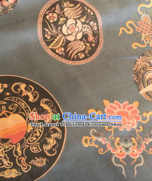 Asian Chinese Classical Butterfly Peony Pattern Black Satin Drapery Gambiered Guangdong Gauze Brocade Traditional Cheongsam Brocade Silk Fabric