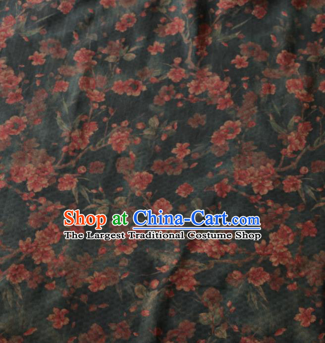 Asian Chinese Classical Plum Pattern Black Gambiered Guangdong Gauze Satin Drapery Brocade Traditional Cheongsam Brocade Silk Fabric