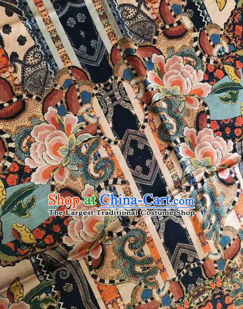 Asian Chinese Classical Peony Pattern Satin Drapery Gambiered Guangdong Gauze Brocade Traditional Cheongsam Brocade Silk Fabric
