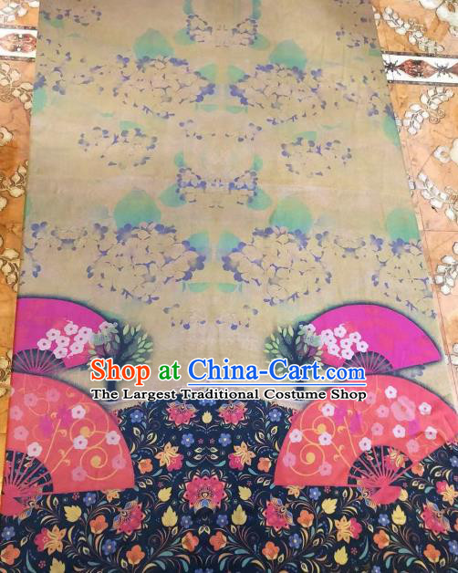 Asian Chinese Classical Fan Pattern Satin Drapery Gambiered Guangdong Gauze Brocade Traditional Cheongsam Brocade Silk Fabric