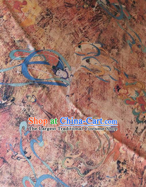 Asian Chinese Classical Bodhisattva Pattern Satin Drapery Gambiered Guangdong Gauze Brocade Traditional Cheongsam Brocade Silk Fabric