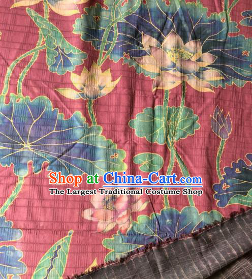 Asian Chinese Classical Lotus Pattern Red Satin Drapery Gambiered Guangdong Gauze Brocade Traditional Cheongsam Brocade Silk Fabric