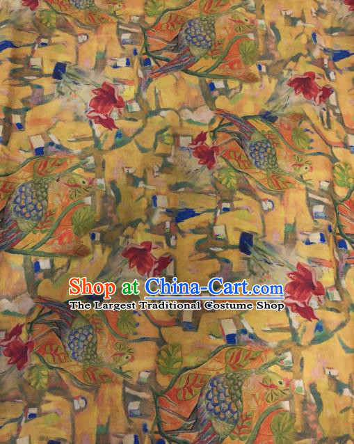 Asian Chinese Classical Peacock Pattern Yellow Satin Drapery Gambiered Guangdong Gauze Brocade Traditional Cheongsam Brocade Silk Fabric