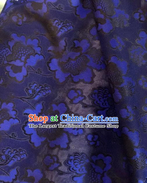 Asian Chinese Classical Twine Flowers Pattern Royalblue Satin Drapery Gambiered Guangdong Gauze Brocade Traditional Cheongsam Brocade Silk Fabric