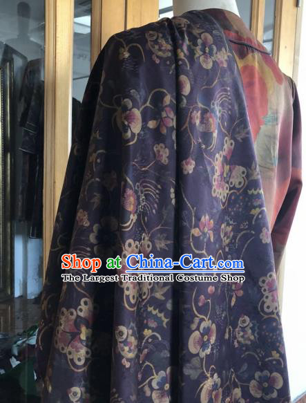 Asian Chinese Classical Phoenix Pattern Purple Satin Drapery Gambiered Guangdong Gauze Brocade Traditional Cheongsam Brocade Silk Fabric