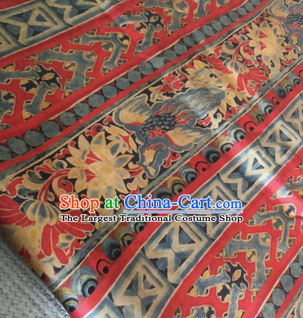 Asian Chinese Classical Pattern Red Satin Drapery Gambiered Guangdong Gauze Brocade Traditional Cheongsam Brocade Silk Fabric