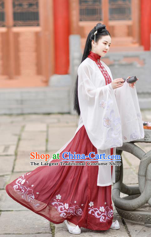 Chinese Ancient Ming Dynasty Hanfu Dress Antique Traditional Court Princess Historical Costume for Women