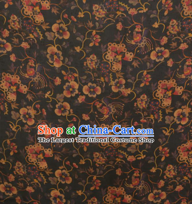 Asian Chinese Classical Phoenix Flowers Pattern Black Gambiered Guangdong Gauze Satin Drapery Brocade Traditional Cheongsam Brocade Silk Fabric