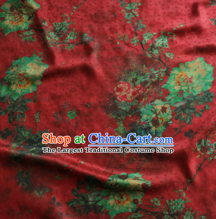 Asian Chinese Classical Peony Plum Pattern Red Gambiered Guangdong Gauze Satin Drapery Brocade Traditional Cheongsam Brocade Silk Fabric