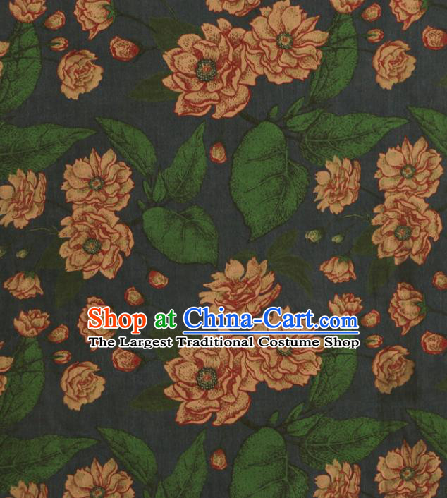 Asian Chinese Classical Lotus Pattern Navy Gambiered Guangdong Gauze Satin Drapery Brocade Traditional Cheongsam Brocade Silk Fabric