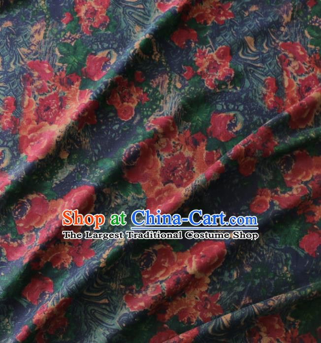 Asian Chinese Classical Pattern Navy Gambiered Guangdong Gauze Satin Drapery Brocade Traditional Cheongsam Brocade Silk Fabric