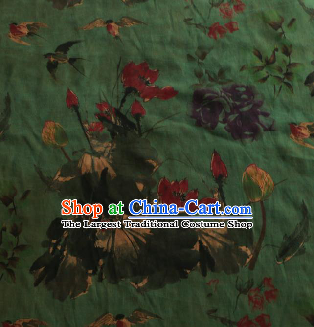 Asian Chinese Classical Lotus Pattern Green Gambiered Guangdong Gauze Satin Drapery Brocade Traditional Cheongsam Brocade Silk Fabric