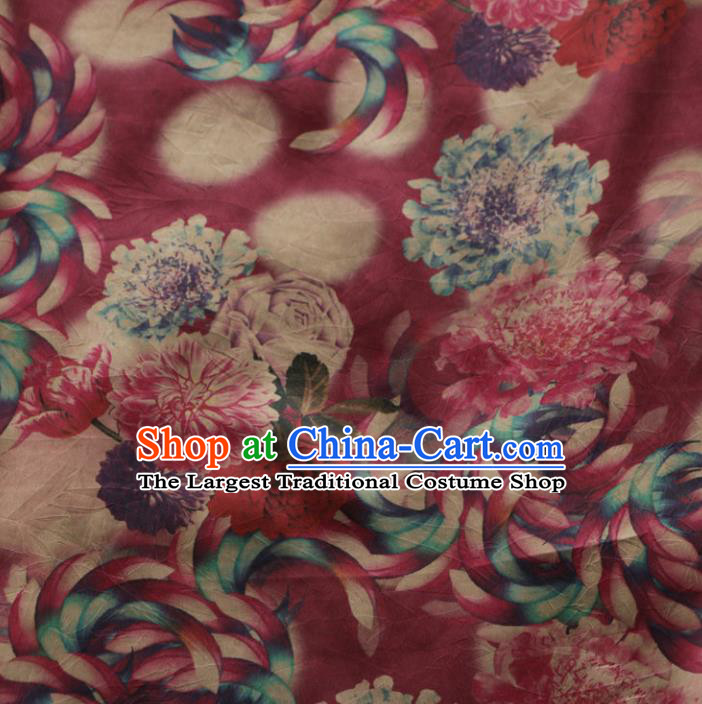 Asian Chinese Classical Roses Pattern Wine Red Gambiered Guangdong Gauze Satin Drapery Brocade Traditional Cheongsam Brocade Silk Fabric