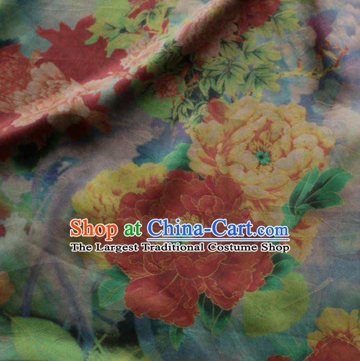 Asian Chinese Classical Peony Flowers Pattern Gambiered Guangdong Gauze Satin Drapery Brocade Traditional Cheongsam Brocade Silk Fabric