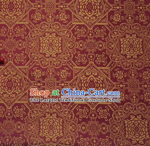 Asian Chinese Cheongsam Classical Pattern Wine Red Satin Drapery Brocade Traditional Brocade Silk Fabric
